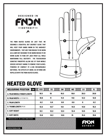 fndn size chart heated glove