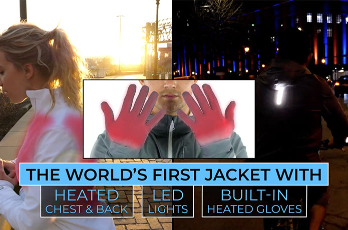 FNDN Heated Women's LED Athletic Jacket w/ Built-In Heated Gloves