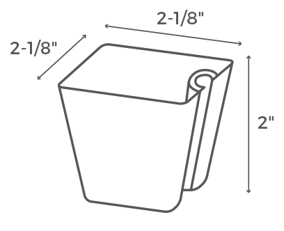"2"" Square Cup Dimensions"