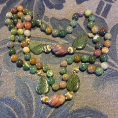 Aventurine, Chalcedony, Agate and Jasper Beaded Necklace with Carving