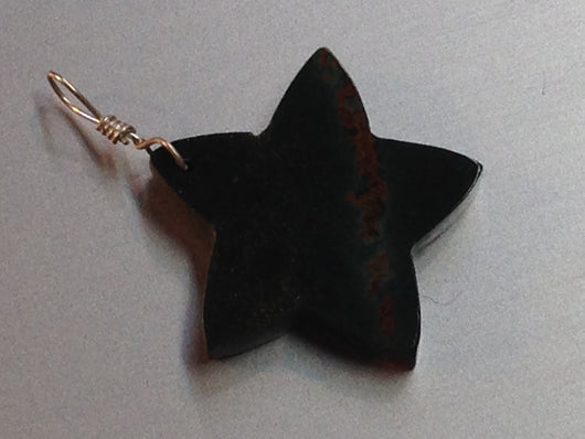 Bloodstone Star Pendant with Sterling Silver Bail