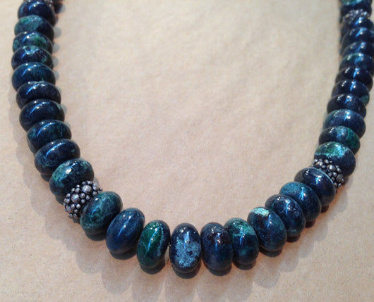 Sweet Chrysocolla Beads with Silver Bead Accent