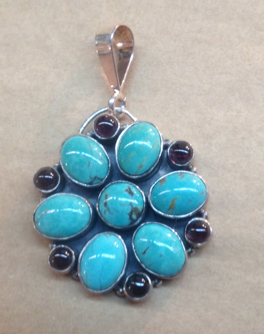 Lovely Turquoise and Garnet Floral Pendant