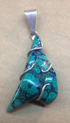 Azurite and Malachite Fantasy Cut Pendant Wrapped in Sterling Silver