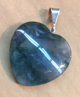 Heart-Shaped Moss Agate with Sterling Silver Pendant