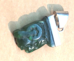 Carved Green Jade Pendant Set in Sterling Silver
