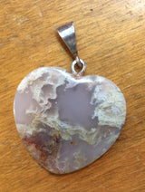 Plume Agate Pendant with Sterling Silver Bail