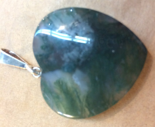 Heart-Shaped Moss Agate Pendant with Sterling Silver