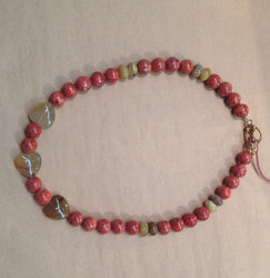 Apple Coral and Montana Agate Necklace