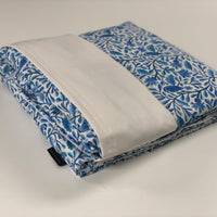 Komfy Couture Weighted Blankets Blue Bird Organic Cotton and White Tencel Weighted Blanket - Glass Beads