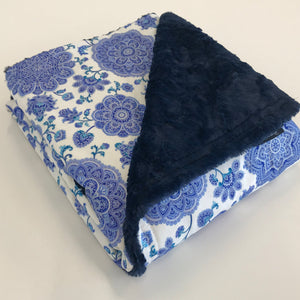 Komfy Couture Weighted Blankets Blue Medallion flannel and Navy Luxe Minky Luxury Weighted Blanket - Glass Beads weighted blanket calming blanket anxiety blanket