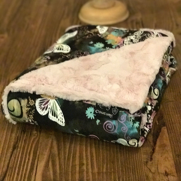 Komfy Couture Weighted Blankets Butterfly and Pink Luxe Minky Luxury Weighted Blanket - Glass Beads weighted blanket calming blanket anxiety blanket