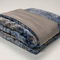 Komfy Couture Weighted Blankets Cooling Weighted Blanket -Light Beige Tencel and Mystik Blue Minky