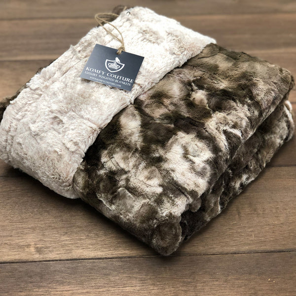 Komfy Couture Weighted Blankets Extra Large Double Minky Luxury Weighted Blanket (54x72) - Brown Faux Fur- Glass beads