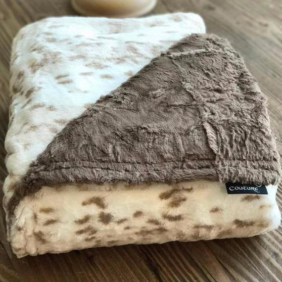 Komfy Couture Weighted Blankets Extra Large Double Minky Luxury Weighted Blanket (54x72) - Leopard and Cocoa Luxe Minky - Glass beads