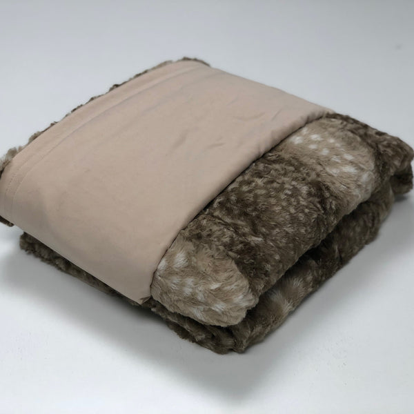 Komfy Couture Weighted Blankets Full Size Cooling Luxury Weighted Blanket (54x72) - Beige Tencel and Fawn Minky - Glass beads