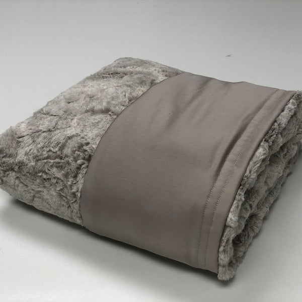Komfy Couture Weighted Blankets Full Size Cooling Luxury Weighted Blanket (54x72) - Beige Tencel and Heather Quartz Minky - Glass beads