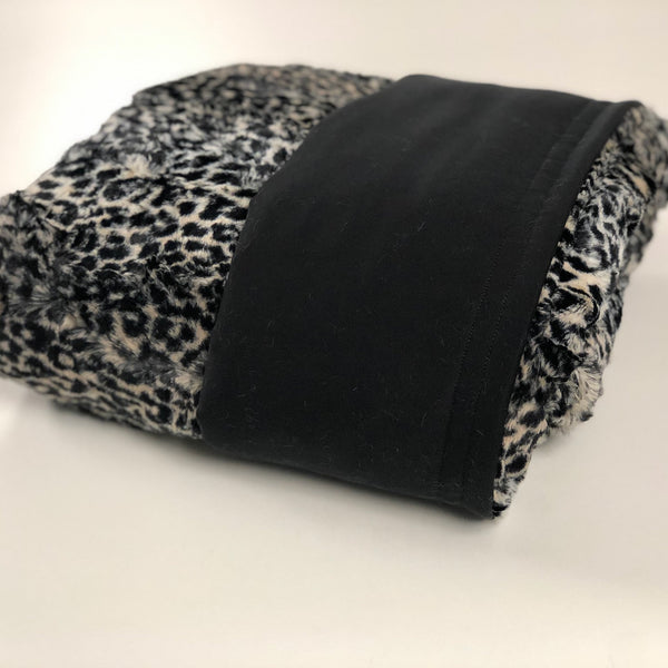 Komfy Couture Weighted Blankets Full Size Cooling Luxury Weighted Blanket (54x72) - Black Tencel and Cheetah Luxe Minky - Glass beads