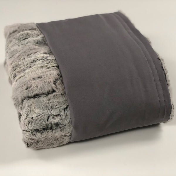 Komfy Couture Weighted Blankets Full Size Cooling Luxury Weighted Blanket (54x72) - Stone Tencel and Silver Fox - Glass beads
