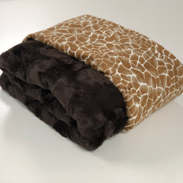 Komfy Couture Weighted Blankets Full Size Giraffe and Brown Luxe Double Minky Luxury Weighted Blanket (54x72) - Glass beads