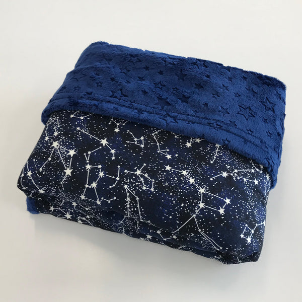 Komfy Couture Weighted Blankets Glow in the Dark Luxury Weighted Blanket with Blue Star Minky - Glass beads - Adult, Teen, Child