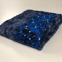 Komfy Couture Weighted Blankets Glow in the Dark Luxury Weighted Blanket with Galaxy Navy Luxe Minky - Glass beads - Adult, Teen, Child