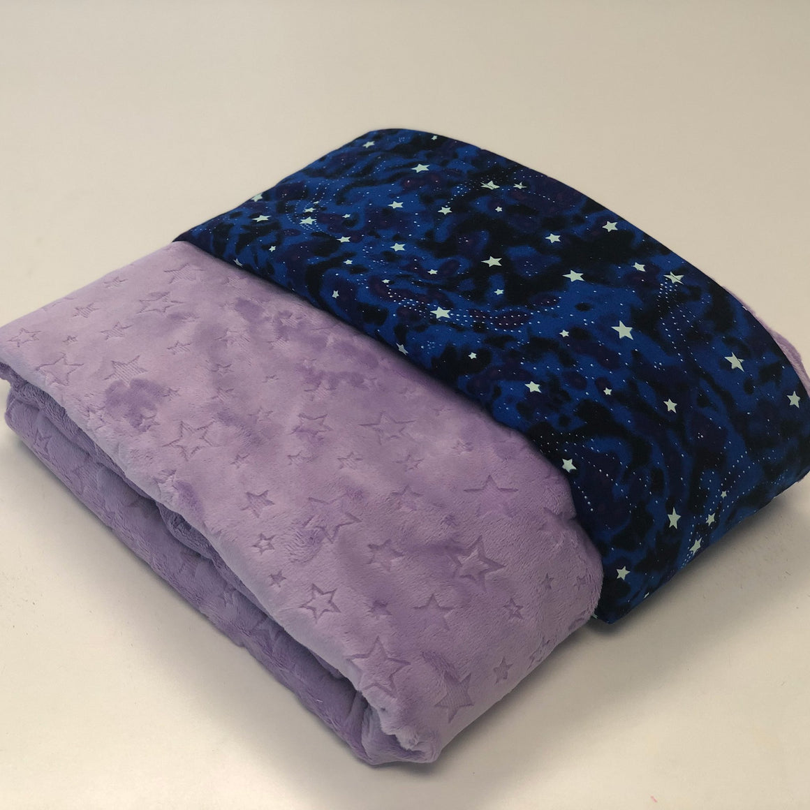 Komfy Couture Weighted Blankets Glow in the Dark Luxury Weighted Blanket with Lilac Star Minky - Glass beads - Adult, Teen, Child