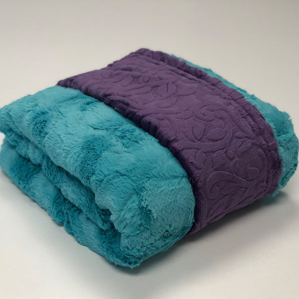 Komfy Couture Weighted Blankets Luxe Breeze and Purple Vine Minky Weighted Blanket - Glass Beads