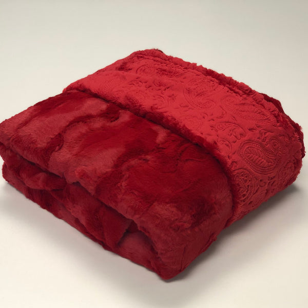 Komfy Couture Weighted Blankets Luxe Cardinal and Red Paisley Double Minky Weighted Blanket - Glass Beads