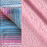 Komfy Couture Weighted Blankets Mexican Serape and Sherpa Luxury Weighted Blanket - Pink Serape and Pink Sherpa - Glass Beads