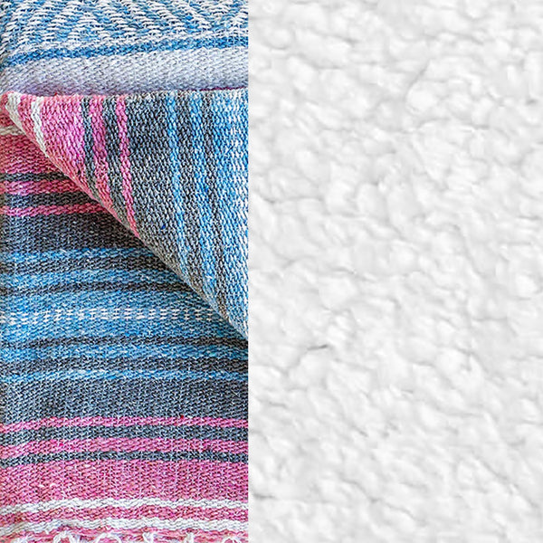 Komfy Couture Weighted Blankets Mexican Serape and Sherpa Luxury Weighted Blanket - Pink Serape and White Sherpa - Glass Beads