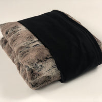 Komfy Couture Weighted Blankets Mountain Fox Luxe Minky and Black Tencel Cooling Weighted Blanket - Glass Beads