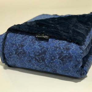 Komfy Couture Weighted Blankets Navy & Blue Filigree Luxury Weighted Blanket - Glass Beads weighted blanket calming blanket anxiety blanket