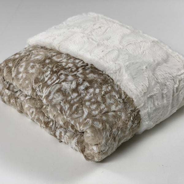 Komfy Couture Weighted Blankets Ocelot Biscotti and Natural Luxe Minky Weighted Blanket - Glass Beads