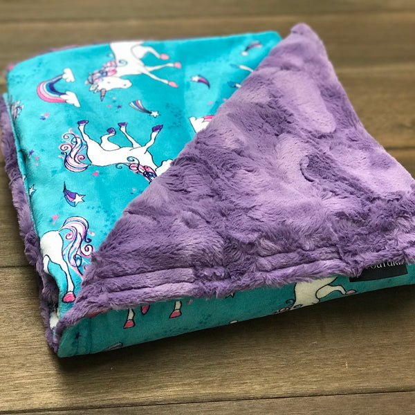 Unicorn Minky and Purple Cuddle Luxury Weighted Blanket - Glass Beads