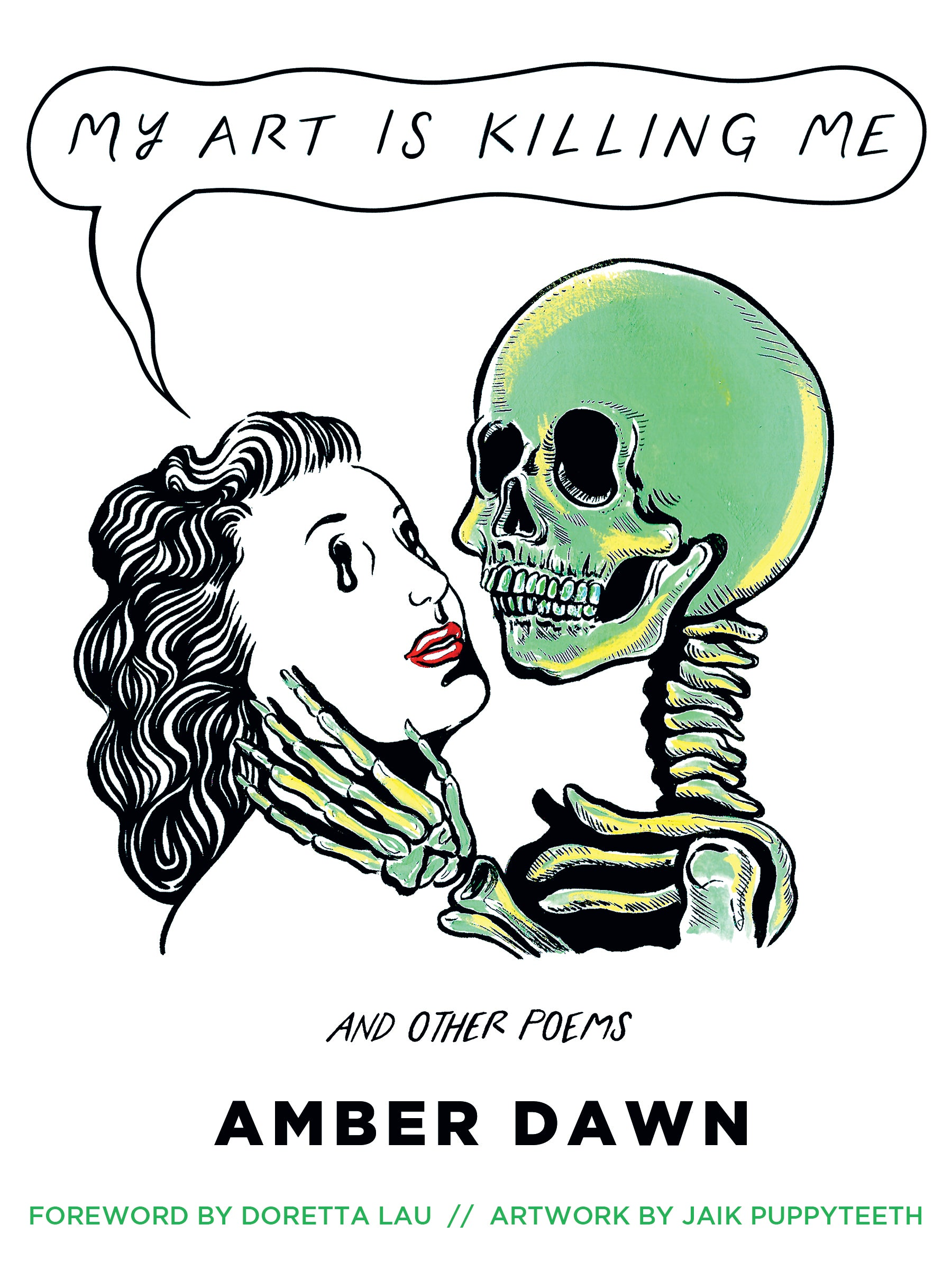 A green skeleton caresses a woman's face.