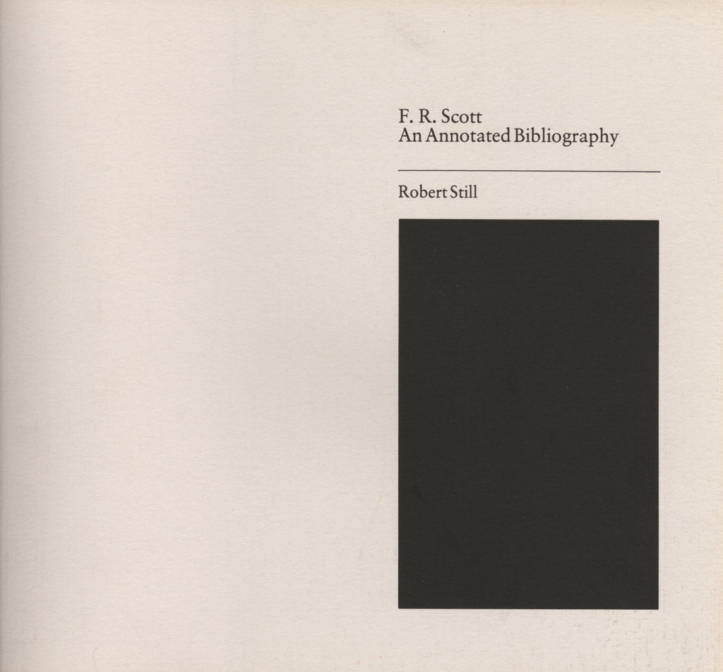 Annotated Bibliography of F. R. Scott - ECW Press