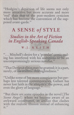 Sense Of Style: Studies in the Art of Fiction in English-Speaking Canada - ECW Press  - 1
