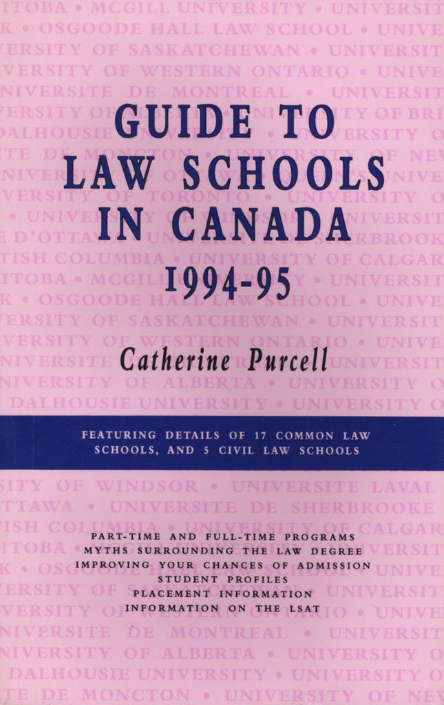 Guide to Law Schools in Canada, 1996–1998 - ECW Press  - 1