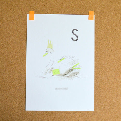 Super Swan neon tape print by Liz King for Smallprint Books