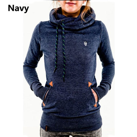 Fashion Brand Long-sleeved Women's Hoodies Pocket Design Solid Color Slim  Women Coat More Choice 6 Colors
