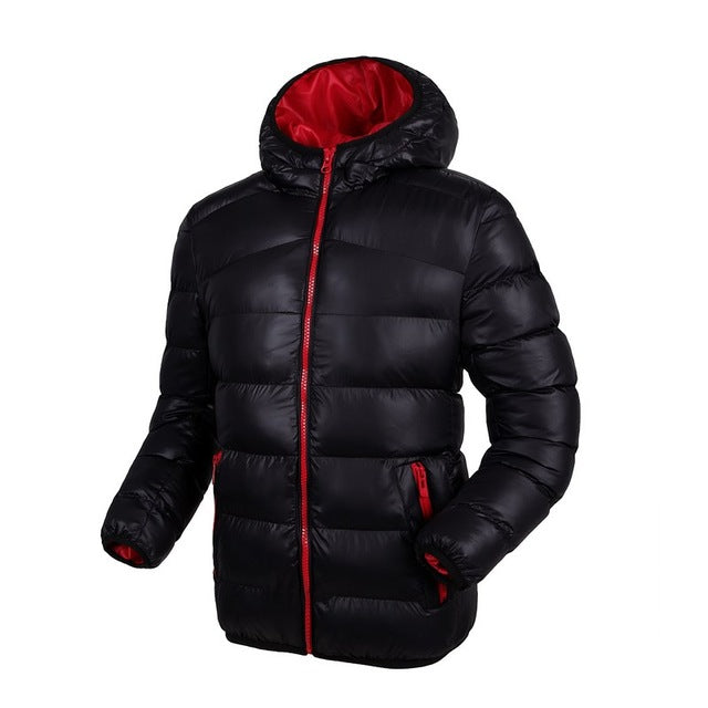 Plus Size Casacos Masculino Winter Jackets Mens Coat Hooded Windproof Warm Fashion Contrast Color Lining Padded Down Jacket