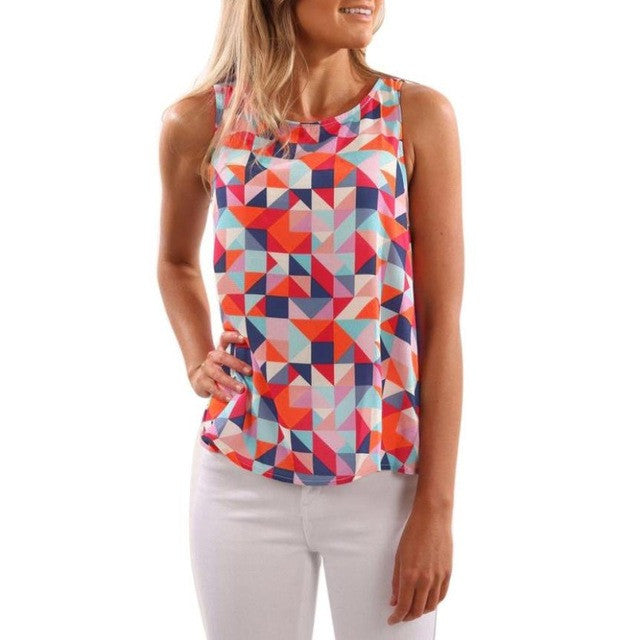 New Summer Style Women T Shirt Summer Multicolor Printed Tank Top Sleeveless Casual O-Neck Tops Fashion Clothing For Lady