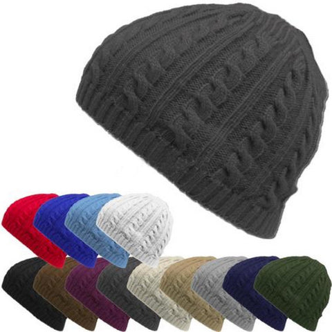 Outdoor Cable Knit Winter Warm Crochet Hat Braided Baggy Beret Cuffless BeanieCamping Hiking Cap Sombrero