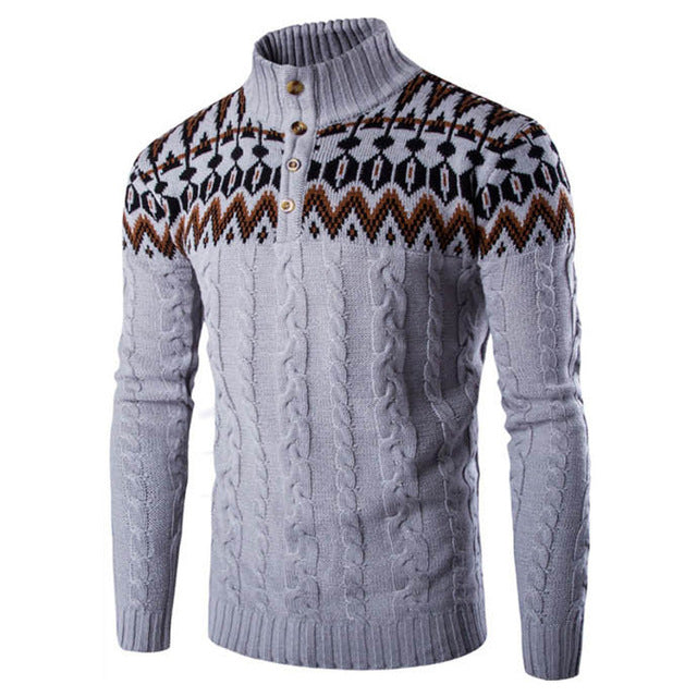 Autumn Winter Warm Knitted Sweaters Pullovers Ethnic Style Casual Men Sweater Coat High Neck Long Sleeve Printed Male Knitwear