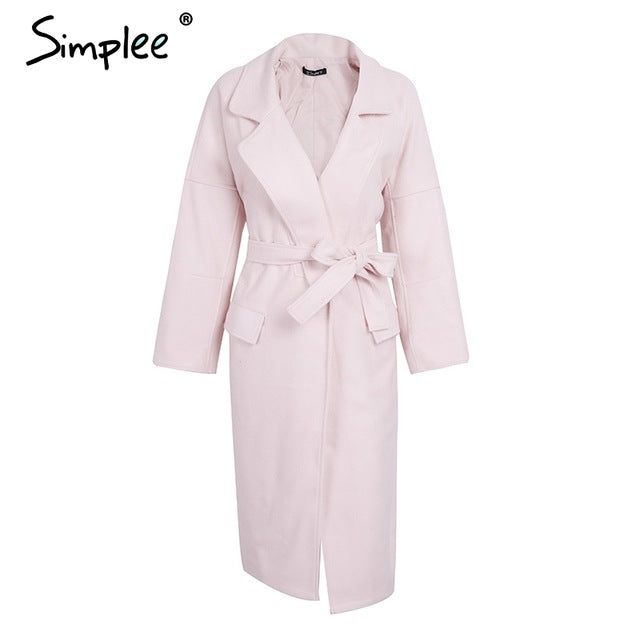 Simplee Elegant turndown warm winter wool blend female Black belt pockets long coat women Casual autumn overcoat outerwear 2017
