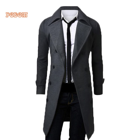 2017 Trench Coat Men Lapel Neck Long Sleeve Wool Winter Autumn Men Casual Medium Long Jacket Business Formal Smart Suit Coats