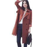 Winter Women Warm Woolen Lapel Casual Loose Coat Jacket Cardigan Long Vintage Ladies Double Breasted Trench Overcoat Outwear