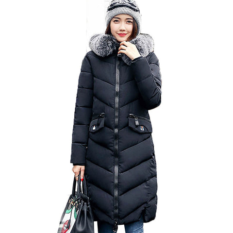 2017 Fashion Women Faux Fur Hooded Long Sleeve Zipper Pockets Down Cotton Outerwear Winter Warm Casual Long Coat Jacket Parkas