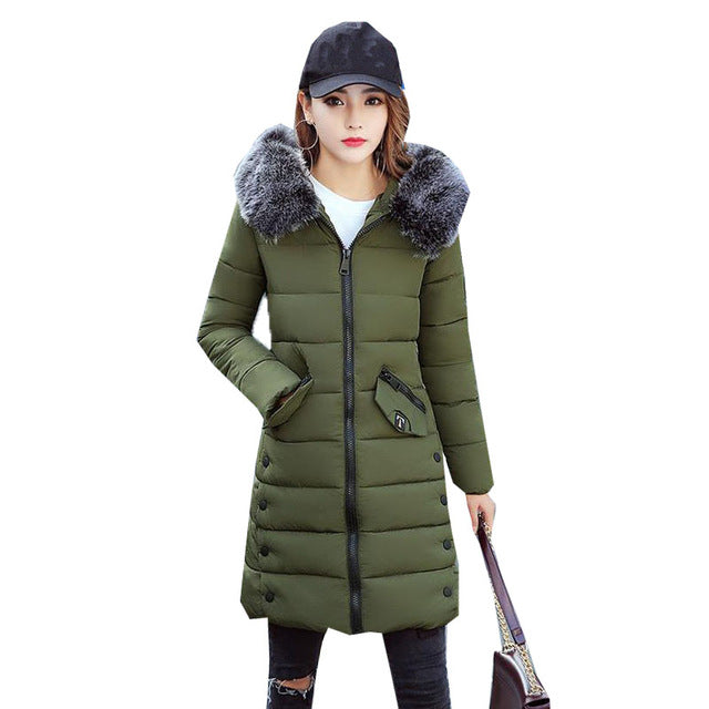 2017 New Women Winter Warm Hooded Faux Fur Collar Long Sleeve Puffer Down Cotton Long Outwear Coat Padded Jacket Parka Overcoat